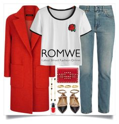 """""""Romwe"""" by itsybitsy62 ❤ liked on Polyvore featuring Acne Studios, Valentino, Jaeger, Estelle Dévé, Tai, Guerlain, romwe, whitetshirt and ROMWECONTEST"""