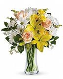 Spring flower bouquet with yellow lilies, white daisies and peach roses. A delightful flower bouquet to send to your mom or grandma. Get Well Flowers, Flowers For You, Order Flowers, Flowers Online, Summer Flowers, Birthday Flower Delivery, Happy Birthday Flower, Fresh Flower Delivery, Same Day Flower Delivery