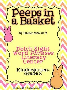 Peeps In a Basket Dolch Sight Word Phrases Easter Literacy Center- first grade sight word phrases.  Includes game, phrase cards, and more!