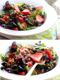 Perfect Strawberry Poppyseed by tips-gardening: Light, sweet, and fresh, this poppyseed dressing is easy to toss together and full of incredible flavor. Serve it over a bed of leafy greens with fresh strawberries, blueberries, candied pecans, bacon bits, and feta cheese. #Salad #Strawberry #Poppyseed