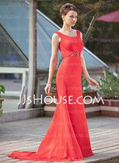 Tubo Decote redondo Cauda corte Chiffon Vestido para a mãe da noiva com Pregueado Beading (008018968)