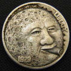 LOU ACKER HOBO NICKEL - HAVANA MOON - 1929 BUFFALO NICKEL Hobo Nickel, Coin Art, Coins, Havana, Buffalo, Money, Awesome, Art, Rooms
