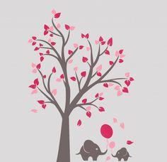 Muursticker grijze boom met roze blaadjes en olifantjes