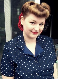 Victory Rolls with Faux Bangs Tutorial, gonna get my mom to try this later.