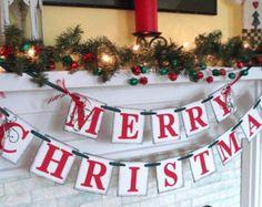 Decorazioni di Natale / Natale decorazione di mantello / famiglia Natale foto Banner / ispirazione Vintage bandiera festa / Banner di Natale