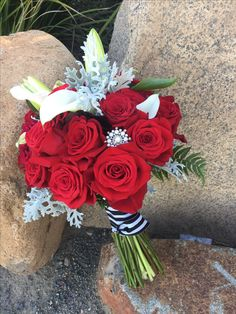 Red Rose White Lily Winter Themed Bouquet