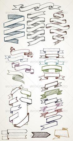 Pancartas y etiquetas Sketches - Símbolos decorativos