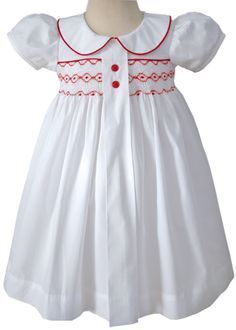 Primrose White Girls Holiday Dress with Red Smocking – Carousel Wear