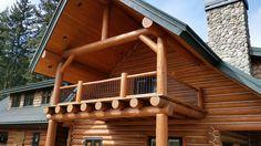 Log Railings by Mountain Log Homes, www.MtLogHomes.com