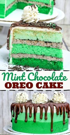 This gorgeous green Mint Chocolate Cake is a show-stopping layer cake perfect for St. Patricks Day or Oreo fans! One of our favorite holiday recipes ever! Chocolate Chip Cake, Oreo Cake, Mint Chocolate Chips, Chocolate Recipes, Cake Recipes, Dessert Recipes, Oreo Desserts, Sweet Recipes, Donuts