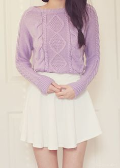 lovely way to wear a cozy sweater ^^ Fall outfits School outfits Purple sweater outfit Pastel Fashion, Kawaii Fashion, Cute Fashion, Fashion Outfits, Doll Style, Style Lolita, Purple Sweater, Kawaii Clothes, Girly Outfits