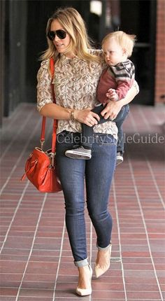 Hilary Duff wore the Tory Burch Seahorse Print Evelyn Shirt as she takes her baby boy Luca to Babies First Class in Sherman Oaks, California on March 6, 2013.     #CelebrityStyleGuide