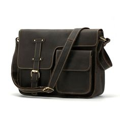 236c63a20a  US 164.29  Men Genuine Leather Vintage Leisure Crossbody Bag Shoulder Bag  Flap Business Briefcase