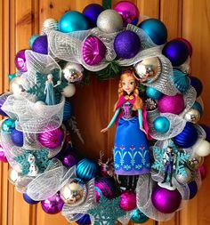 Disney's Frozen Inspired Wreath from WreathsWithCharacter Frozen Christmas Tree, Christmas Tree Themes, Disney Christmas, Xmas Decorations, Kids Christmas, Christmas Wreaths, Christmas Crafts, Christmas Ornaments, Merry Christmas