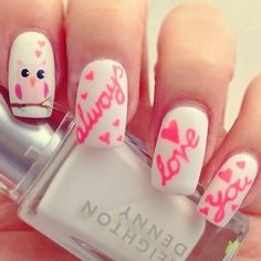 89 Most Fabulous Valentine's Day Nail Art Designs - What do you think of giving your hands a romantic look on Valentine's Day? The easiest way to get catchy hands and make them more gorgeous is to chang... -  valentines day nails (31) ~♥~ ...SEE More :└▶ └▶ http://www.pouted.com/89-most-fabulous-valentines-day-nail-art-designs/