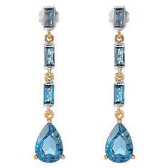 """150-560 - Gems en Vogue 1.75"""" 8.90ctw London Blue Topaz Elongated Dangle Drop Earrings"""