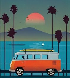 Logos Retro, Illustration Art, Illustrations, Surf Art, Arte Pop, Cute Wallpaper Backgrounds, Photo Wall Collage, Vintage Travel Posters, Beach Art