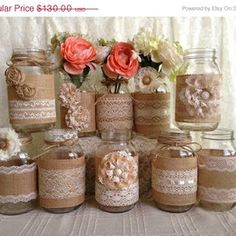 10x rustic burlap and lace covered mason jar ... | IdealPin