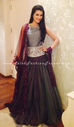 Kriti Sanon in Grey Burgundy Anarkali Dress at Navrang Navratri Event in Surat