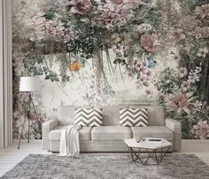 Modern Floral Wallpaper Nordic Fresh Watercolor Vine Flower Background Wall Paper Murals Bedroom , L Wallpaper Size, Custom Wallpaper, Wall Wallpaper, Wall Painting Living Room, Living Room Paint, Modern Floral Wallpaper, Vintage Floral Wallpapers, Flower Backgrounds, Flower Wall