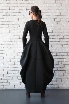 Black Neoprene Dress/Extravagant Long Coat/Asymmetric Maxi Dress/Victorian Style Dress/Long Sleeve Black Dress/Long Zipper Tunic/Maxi Coat in 2020 Black Dress Coat, Black Long Sleeve Dress, Coat Dress, The Dress, Maxi Coat, Dress Long, Dress Outfits, Fashion Dresses, Fashion Coat