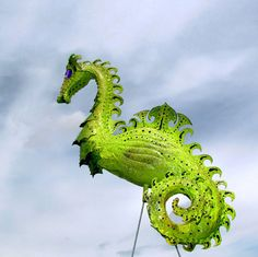 Dragon Flamingo Handmade garden art sculpture statue by CedarMoon