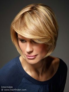 A very sculptured bob is another option for the more traditionally minded. Sleek lines and a gentle slope from a slightly shorter back to the front give it a subtle A-line. The fringe sweeps across the entire front in a most dynamic line that continues to the sides in another sublime curve which then again ends as a fine point following the line of her jaw and finishing in a beautiful frame to her face. A multitone blonde brings the right fire to the look with warm dark to golden blonde…