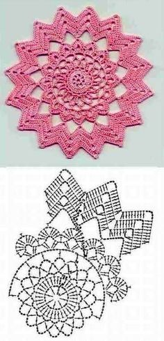 New Crochet Granny Square Chart Yarns Ideas Motif Mandala Crochet, Crochet Doily Diagram, Crochet Circles, Crochet Flower Patterns, Crochet Chart, Crochet Squares, Thread Crochet, Crochet Granny, Crochet Flowers