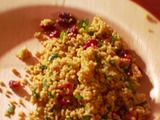 Curried Couscous Salad with Dried Sweet Cranberries - made with brown rice couscous for g-f status and added chicken for protein