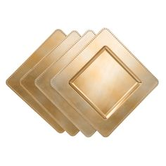 13 in.Gold Square Charger Plates