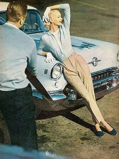 Sunny Hartnett by Tom Palumbo casual day wear sportswear active vintage fashion style color photo print ad model magazine 50s tan pants khakis blue shirt blouse shoes car pale pastel white