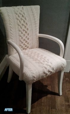 Custom-knitted sweater chair. I want a big comfy version of this chair to read in.