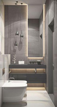 espelho para lavabo pequeno com decoração moderna em tons de cinza Small Luxury Bathrooms, Modern Contemporary Bathrooms, Bathroom Design Luxury, Modern Room, Amazing Bathrooms, Bathroom Modern, Masculine Bathroom, White Bathrooms, Bathroom Black