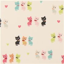 off-white cat corduroy fabric by Kokka from Japan - Animal Fabric - Fabric