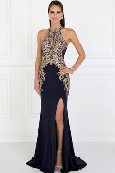c859c978ce4 Elegant Halter Floor Length Dresses With Open Section GSGL1519