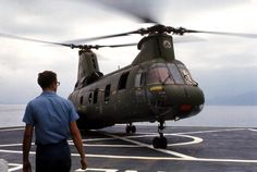 Helicopter on Sanctuary's helo deck. Vietnam Veterans, Vietnam War, Subic Bay, Helicopters, Choppers, Fighter Jets, Aircraft, Deck, Aviation