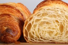 A croissant is a buttery, flaky, viennoiserie-pastry named for its well-known crescent shape. Croissants and other viennoiserie are made of a layered yeast-leavened dough. Bread And Pastries, French Pastries, French Bakery, French Food, Breakfast And Brunch, Bread Recipes, Baking Recipes, French Croissant, Croissant Dough