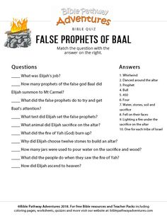 Enjoy our free Bible Quiz: Elijah and the False Prophets of Baal. Fun for kids to print and test their knowledge. Feel free to share with others, too! Family Bible Study, Bible Study For Kids, Bible Lessons For Kids, Kids Bible, Toddler Sunday School, Sunday School Lessons, Sunday School Crafts, Scriptures For Kids, Bible Stories For Kids