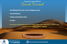 Hazrat Yousaf (A. There's a dedicated surah in the Quran telling us about his life. Islamic Events, Online Quran, Quran Recitation, Holy Quran, Righteousness, Forgiving Yourself, Alhamdulillah, Jealousy, Lessons Learned