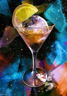 Buku Buku Night Sky Wallpaper, Galaxy Wallpaper, Food Illustrations, Illustration Art, The Moon Tarot, Alice Book, Colorful Drinks, Anime Galaxy, Food Drawing