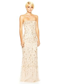 BASIX Strapless Beaded Evening Gown SO PRETTY....but where the heck would I ever wear it??