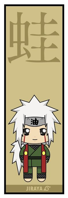 Jiraiya (自来也, Jiraiya) was one of Konohagakure's legendary Sannin. He was known as the Toad Sage (蝦蟇仙人, Gama Sennin) because of his special affinity for toads. Famed as a hermit and pervert of stupendous skill, Jiraiya travelled the world in search of knowledge that would help his friends, his series of adult novels, and, ultimately, the world in its entirety.