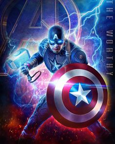 The Worthy Avengers Endgame wallpaper of Captain America created by Heavenly Kaos # endgame Marvel Dc Comics, Marvel Avengers, Marvel Fanart, Captain Marvel, Captain America Civil, Marvel Characters, Marvel Movies, Captain America Wallpaper, Die Rächer