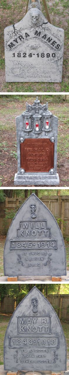 Different Halloween tombstone styles - love the lantern one