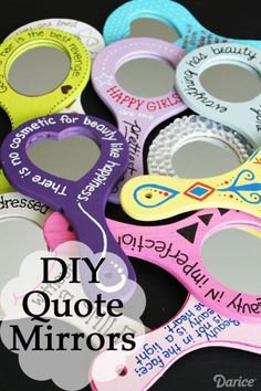 If you're looking for cute DIY gifts for girls, you will love these inspirational beauty quote mirrors. Customize each one with a different quote! Cute Diys, Cute Crafts, Crafts For Kids, Diy Crafts, Kids Diy, Decor Crafts, Teen Girl Crafts, Crafts Cheap, Yarn Crafts