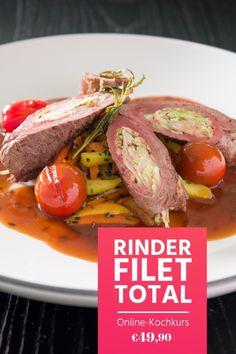 Die noble Rinderroulade und viele weitere Gerichte mit Rinderfilet lernst du im Online-Kochkurs. Vom Zerlegen bis zu kalten und warmen Gerichten, vom Dampfgarer bis zur Sous-vide-Methode. Schau es dir an!