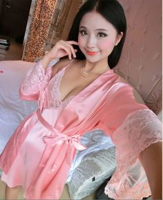 2016 new arrival 2 pcs lace robe+nightgown silk imitation women pajamas sexy lace robe sets plus size women cardigans