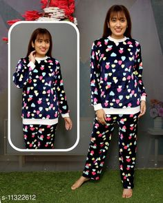 Nightsuits Stylish Women Fancy Nightsuit Top Fabric: Wool Bottom Fabric: Wool Top Type: Tshirt Bottom Type: Pyjamas Sleeve Length: Long Sleeves Pattern: Printed Multipack: 1 Sizes: L (Top Bust Size: 38 in, Top Length Size: 25 in, Bottom Waist Size: 34 in, Bottom Hip Size: 36 in, Bottom Length Size: 36 in)  Sizes Available: M, L, XL *Proof of Safe Delivery! Click to know on Safety Standards of Delivery Partners- https://ltl.sh/y_nZrAV3  Catalog Rating: ★4 (3567)  Catalog Name: Women's Winter Nightsuits CatalogID_2001790 C76-SC1045 Code: 824-11322612-