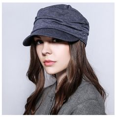Leisure plain ruffle newsboy cap for women