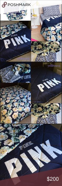 SALENwt Victoria Secret PINK Bed in a Bag Q Nwt VS PINK Bed in a Bag Set..  Size Queen Color Blue Floral..  Includes: 1 Fitted Sheet 1 Bed Sheet 2 Pillow Case  1 Reversible Comforter  BRAND NEW NEVER BEEN USED pull it out just to take pictures..  Price is firm..  Thank you.. Victoria's Secret Accessories